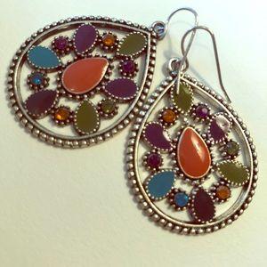 Jewelry - Enamel & Rhinestone earrings.